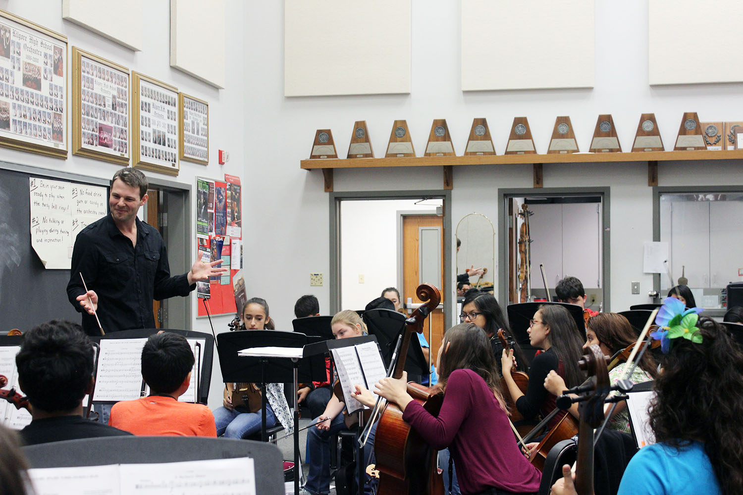 Tristan Roberts instructs one of his Orchestra classes.