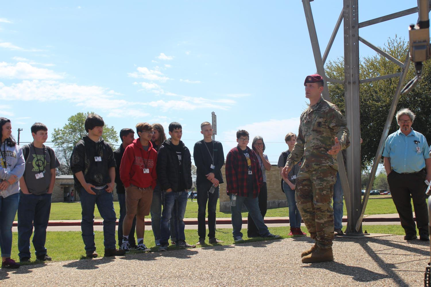 Staff Sergeant Hood discusses the duties of the Explosives Disposal Unit