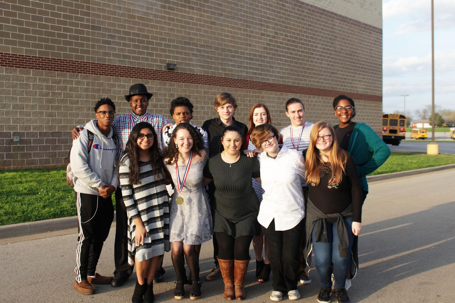 Left to right:  Row one: sophomore Dekavian Hall, senior Braeland Williams, junior Shania Pierce, junior Brandon Fugler, sophomore Carlie Massey, senior Nicholas Hoskins, freshman Brooklyn Hall Row two: junior Vanessa Zarazua, senior Bailey Green, senior Olivia Lemaire, sophomore Alex Callaway, senior Alyssa Vanhoose.