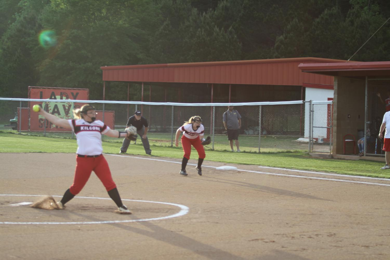 Sophmore Kristen Smith Pitching the ball