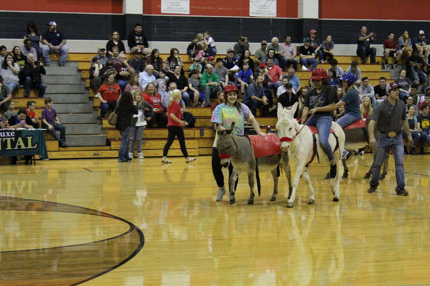 Juniors Maci Hatcher and Kristal Loredo climb on their donkeys for a round of Donkey Basketball.