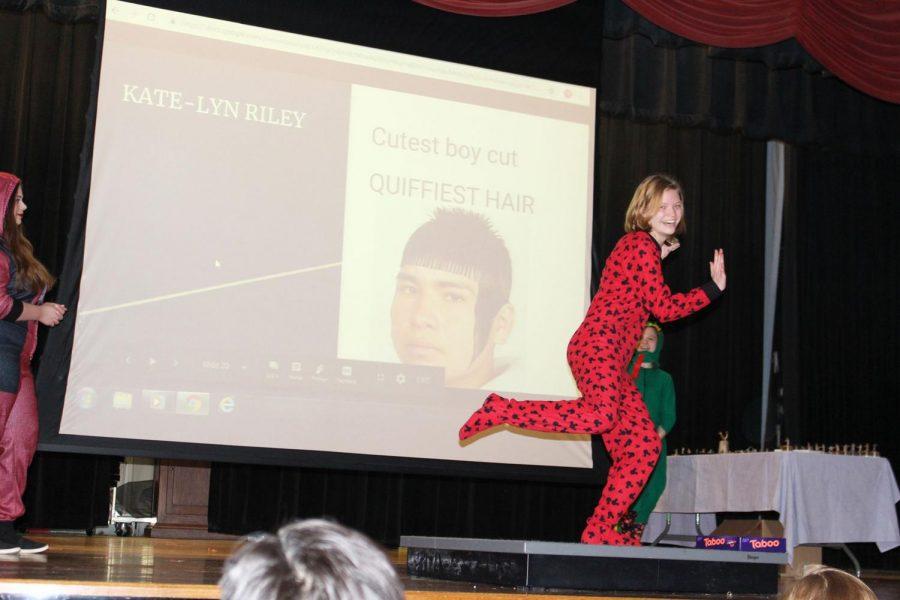 Senior Katelynn Riley dances for joy after accepting her award.
