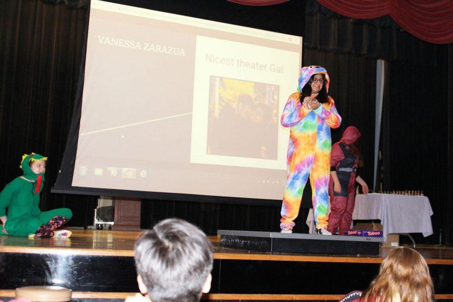 Senior Vanessa Zarazua in her tie-dye pajamas as she takes her award.
