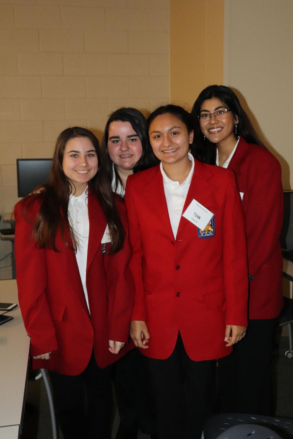 Moving on up • Juniors Alison Rashidi, Mackenna Watkins, Anushka Pradhan, and Sydney Chowdhury pose for a picture after getting first in state.