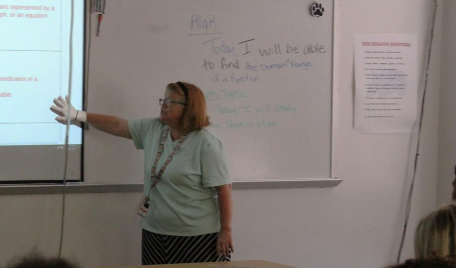 Cristie Read demonstrates a math problem on the board.