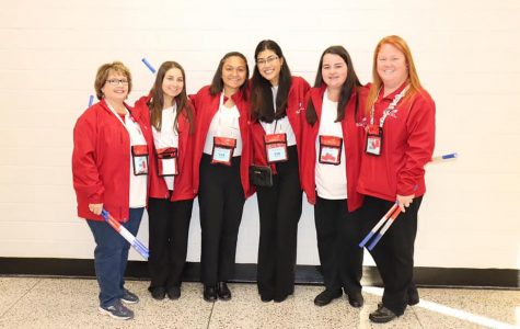 Jenny Baggett and Cheyenne Kirkpatrick pose with seniors Alison Rashidi, Sydney Chowdhury, Anushka Pradhan, and Mackenna Watkins at Skills USA competition.