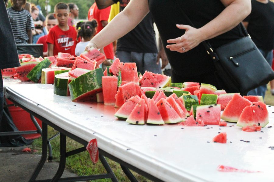 Watermelon is set out for Bulldog Fans at Watermelon Fest.
