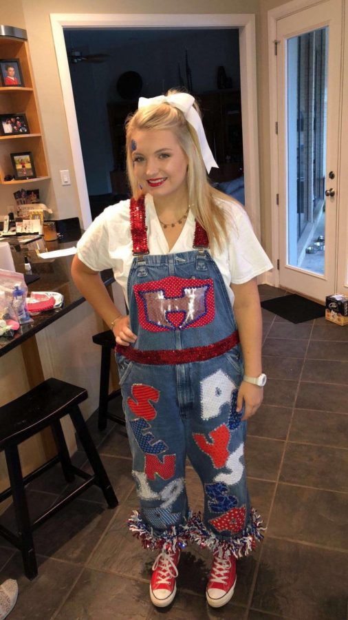 Henderson senior goes all out on her overalls.