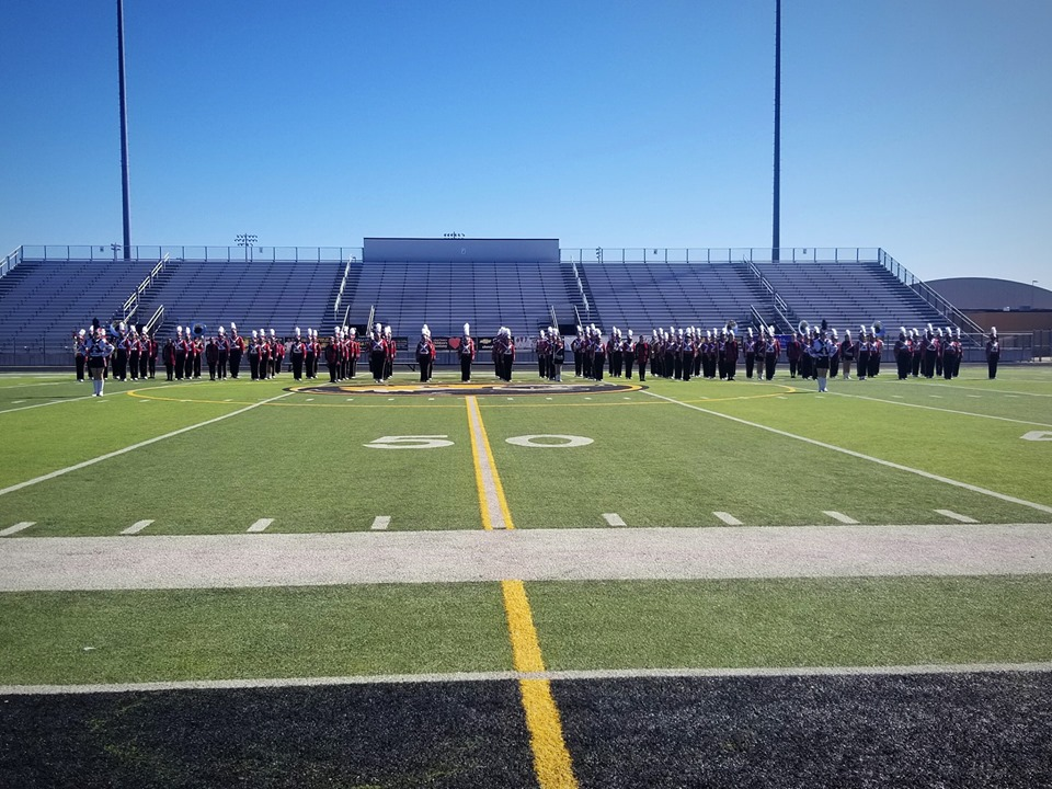 The band begins the drill for their competition.