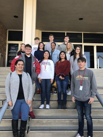 Senior NHS members Alex Czarniecki, Spencer Thompson, Carl White, Katherine Domogalla, Lauren Couch, Kaleigh Sammons, Katy Edens, Scott Silvey, Leticia Vallejo, Brandy Espinoza, Dayton McElyea, Daisy Salazar, and Jack Tyra get a quick picture before the competition.