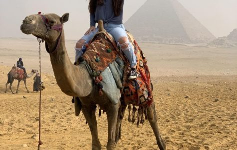 Skyler Day enjoys a day in the pyramids located in Egypt.