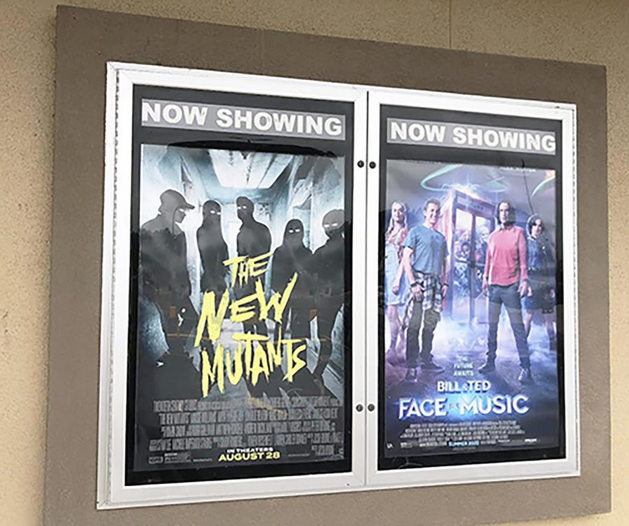 The Kilgore Four Star Cinema displays The New Mutants movie poster.
