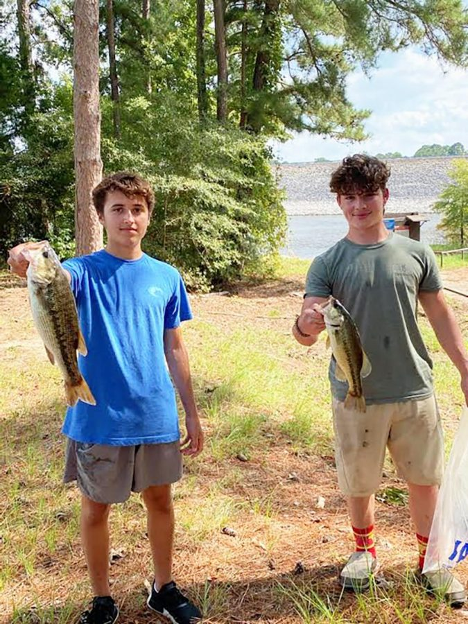 Sophomores Kobie Newlen and Tylar Fleming show off their catches.